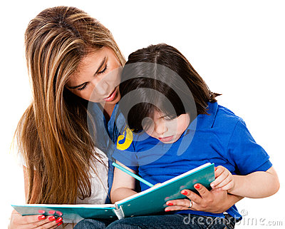 Boy coloring with his mother