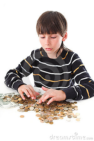 Free Boy Considers Money Stock Images - 2388304