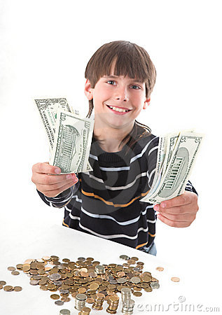 Free Boy Considers Money Stock Photo - 2388310