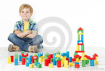 Boy and construction blocks toys