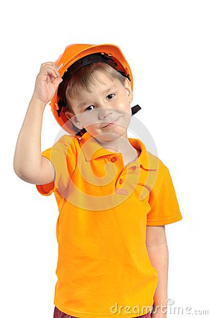 Boy in construction helmet