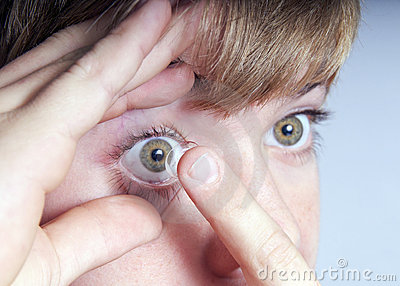 Boy with contact lens