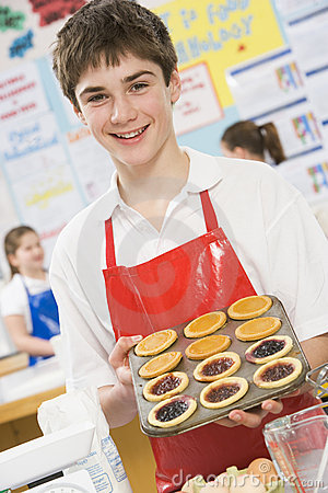 Boy in a cooking class