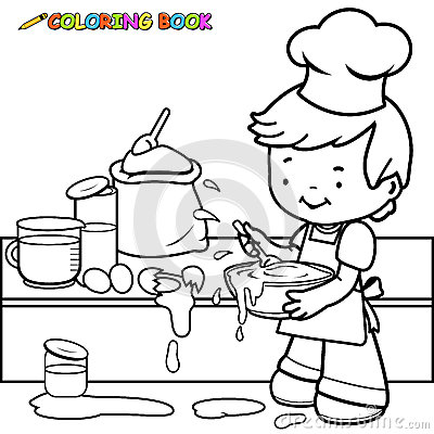 boy cooking and making a mess coloring page