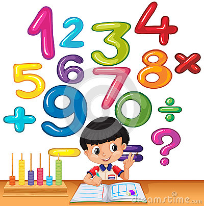Boy counting numbers on the desk