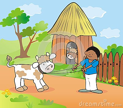 Boy And Cow Stock Images Image 30449994