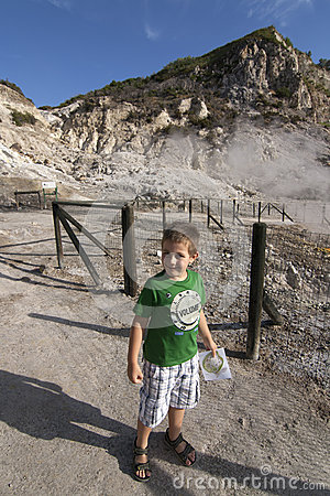 Boy in crater of Solfatara