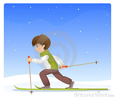Boy cross country skiing