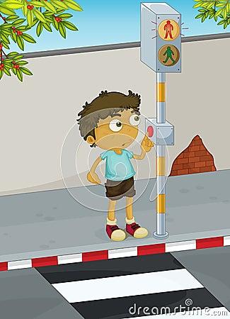 Boy Crossing Road