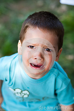 Boy crying up loud