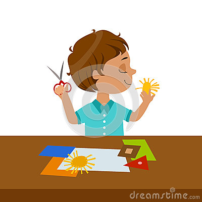 Boy Cutting Sun Shape For Paper Applique, Elementary School Art Class Vector Illustration Vector Illustration