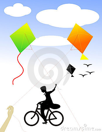 A boy on cycle celebrating freedom with Kites