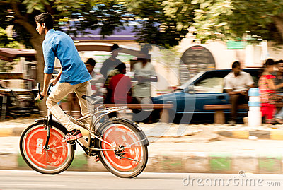 Boy on cycle, panning rahagiri Editorial Image