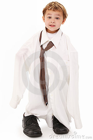 Boy in Dad s Shirt and Tie