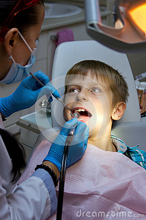 Boy in a dental surgery