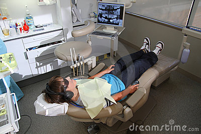 Boy at the dentist s clinic