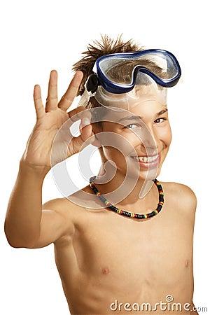 Boy diving mask