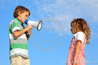 Boy does reprimand to girl through loudspeaker