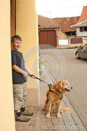 Boy and dog teamwork