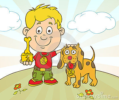 Boy and dog win a prize