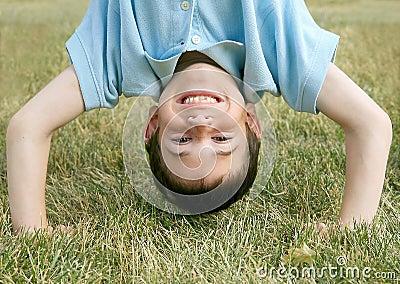 Boy Doing a Handstand