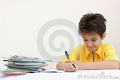 A boy doing his homework