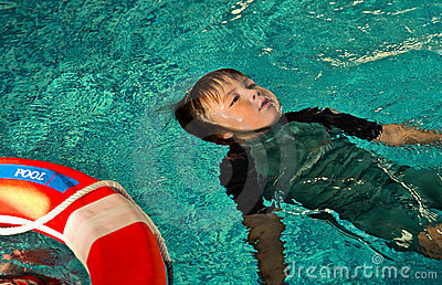 Boy doing Lifesaving Floating on Water.