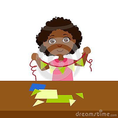 Boy Doing Paper Flag Garland On A String, Elementary School Art Class Vector Illustration Vector Illustration