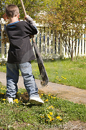 Boy doing yardwork