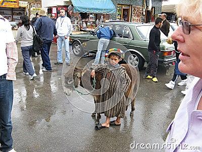 Boy with donkey Editorial Photo