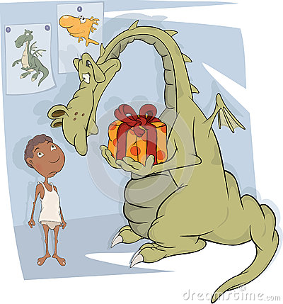 The boy and dragon. Cartoon