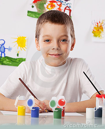Boy on a drawing class