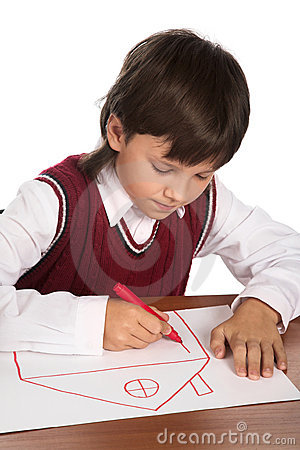 Boy drawing house