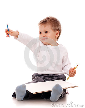 Free Boy Drawing With A Pencil Royalty Free Stock Photography - 28665967
