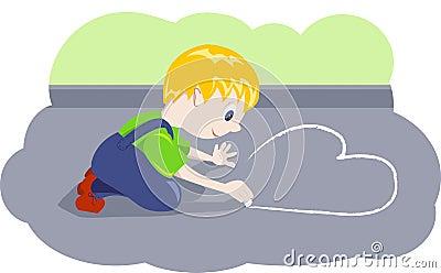 Boy draws heart