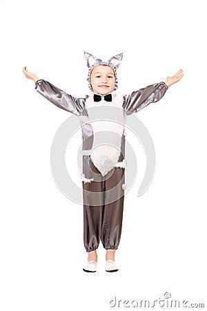Boy dressed as cat