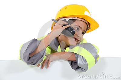 Boy dressed in worker costume
