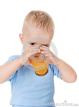 The boy drink juice