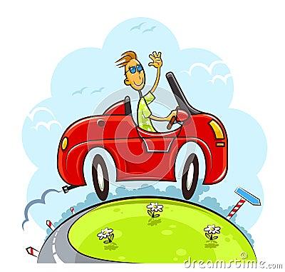 Boy drive car