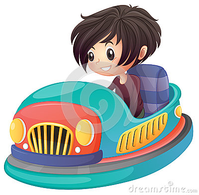 A boy driving bumper car