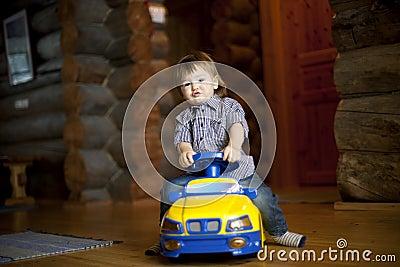 Boy driving car