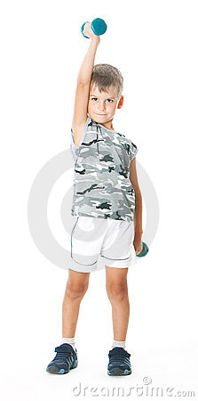 Boy with dumbbells