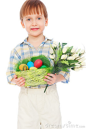 Boy With Easter Eggs And Bunch Of Tulips Royalty Free Stock Photo - Image: 18958305