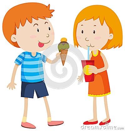 Free Boy Eating Icecream And Girl Drinking Royalty Free Stock Photo - 61505165