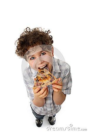 Free Boy Eating Pizza Stock Photos - 8560053
