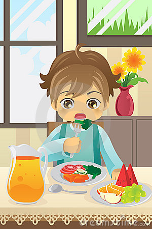 Free Boy Eating Vegetables Royalty Free Stock Images - 21936019