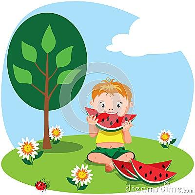 Boy eating a watermelon