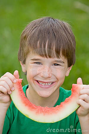 Free Boy Eating Watermelon Royalty Free Stock Photo - 5577665