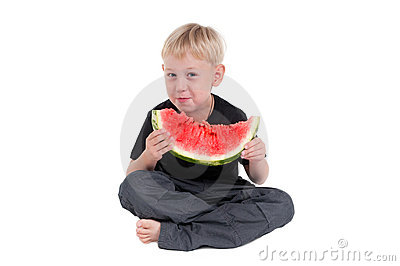 Boy eating a watermelon series 2