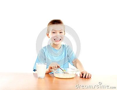 Boy eats